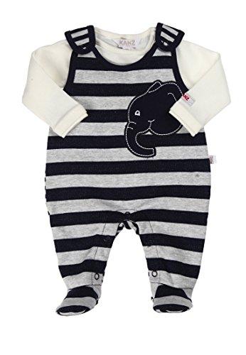 Kanz Unisex - Baby Bekleidungsset Strampler + T-Shirt 1/1 Arm, Gestreift, Gr. 50, Blau (Black Iris Blue 3800)