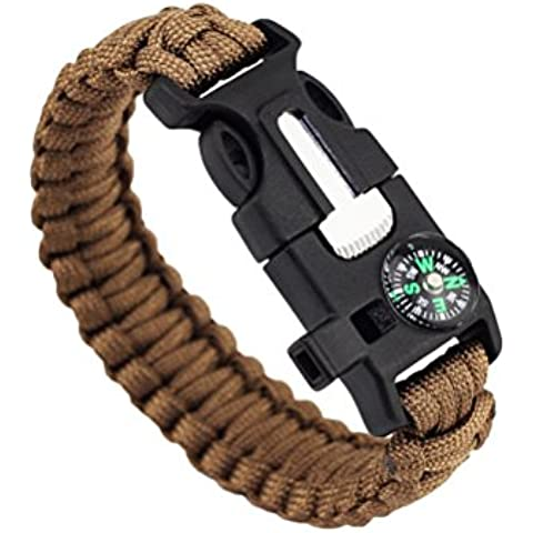outdoorjasoy brevetti braccialetto di sopravvivenza Outdoor ad alta precisione mini bussola fischietto Flint braccialetto 5-in-1, marrone