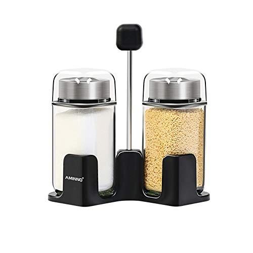 Salz und Pfeffer Shaker Set, Spice Jars Pepper Dispenser mit Pour Holes Lid Glass Cruet mit Storage Rack Pepper-set Glass