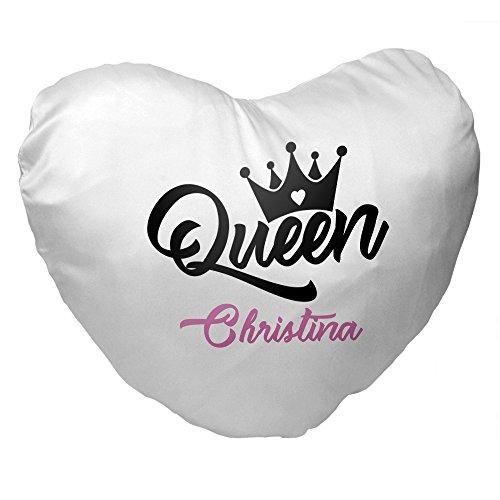 Herz-Kissen mit Namen Christina und schönem Queen-Motiv für Frauen | Geschenk zum Valentinstag für Verliebte | Kuschelkissen 3