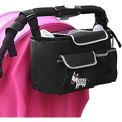 Bolsa Organizador Almacenamiento, Viflykoo Cochecito de Bebé Cochecito Colgar Bolsas Organizador para Cochecitos de Bebé Cochecitos Origanizer Stroller Storage Bags - Negro