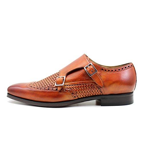 GIORGIO REA Chaussures Homme Orange Fait à la Main en Italie, Single Boucle, Brogues, Mocassins, Boucles, Élégant, Haute Couture