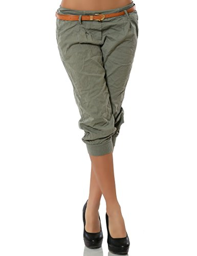 Damen Chino Capri Hose inkl. Gürtel (weitere Farben) No 13235, Größe:S / 36;Farbe:Khaki (Capri-hosen Shorts Khaki)