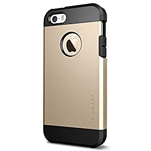 Spigen Coque iPhone Se, Coque iPhone 5S / 5 [Tough Armor] Protection Militaire [Champagne Gold] Coussin d