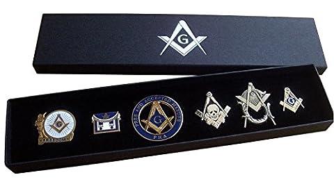 Masonic Pin Badge Collection (Set A) - Square & Compass + Embossed Gift Box - Freemason