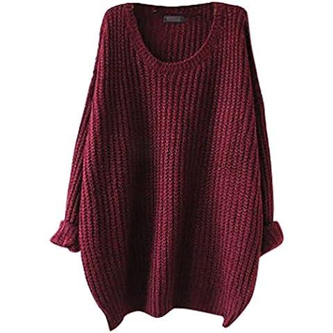 YouPue Mujeres Suéter Jerseys Redondo Cuello Pullover Casual Largo De La Manga Suelto Sección Delgada Blusa Suéter Jerseys Prendas Para Señoras Color