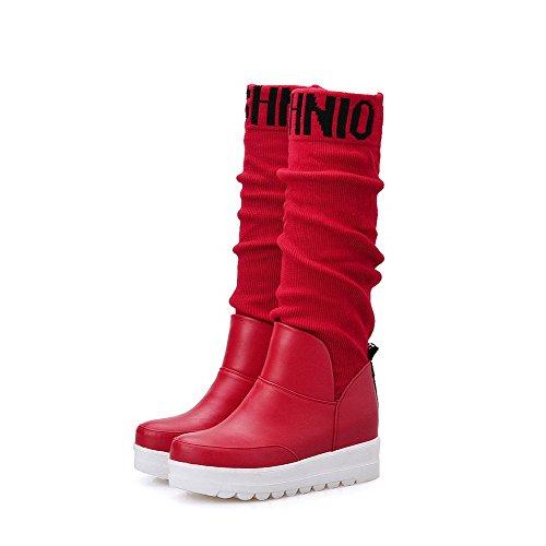 AllhqFashion Damen Gemischte Farbe Blend-Materialien Mittler Absatz Ziehen Auf Stiefel Rot