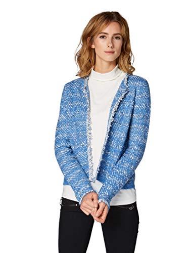 TOM TAILOR für Frauen Pullover & Strickjacken Cardigan mit Fransen Sapphire Blue Melange, L -