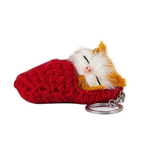 Floweworld Niedliche Schlüsselbund Temperament Schlaf Kätzchen Haar Ball Schlüsselanhänger Wollpantoffeln Katze Anhänger Schlüsselbund -