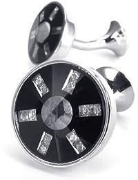 KONOV Herren Manschettenknöpfe, Kreis, Hochzeit, Hemd Manschetten Knöpfe, Schwarz Silber, mit Geschenk Tüte