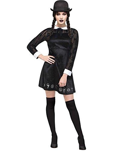 Deluxe Gothic Schulmädchen Kostüm, Velours Kleid mit Bemalung, Größe: 40-42, 45132 (School Girl Kostüm Schuhe)