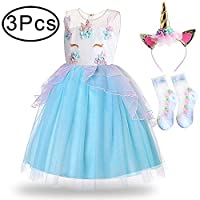 Standie Girls Pretty Princess for Unicorn Costume Party Fancy Dress for with a Pair of Socks and a Headband for Cosplay Festival Performance Birthday Wedding