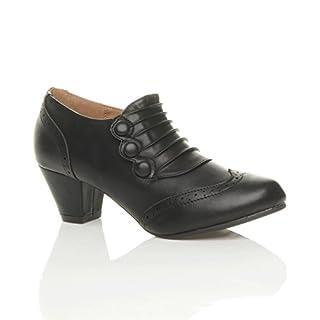 Ajvani Womens Ladies mid Heel Buttons Zip Brogue Ankle Shoe Boots Booties Size 6 39