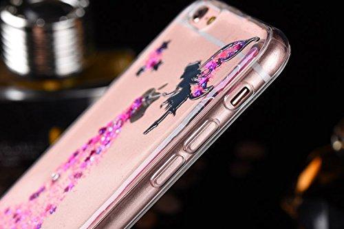 Ikasus Custodia protettiva bumper per iPhone SE e 5S, ultrasottile, in TPU e morbido silicone, serie con fiori di ciliegio realizzati a mano, dotata di pennino e di vetro temperato gratuito per proteg Angel:Pink