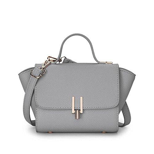 HQYSS Damen-handtaschen Bezaubernde PU-lederne Schulter-Kurier-Handtasche Normallack-Frauen-Verschluss-Wölbung Crossbody justierbare Einkaufstasche gray