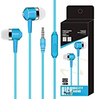 Coogel in-ear earphones headphones wire control plug-in audio-visual mobile phone computer digital headset accessories microphone heavy bass sports with wheat universal type (Blue)