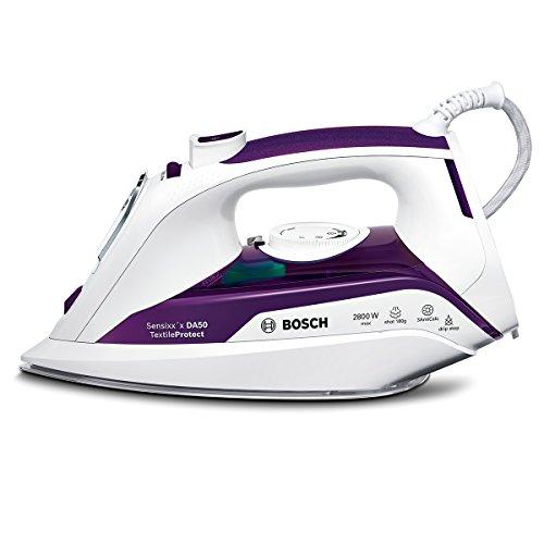 Bosch TDA502801T - Plancha de vapor, 2800 W, suela CeraniumGlissée, vapor vertical, color blanco y morado