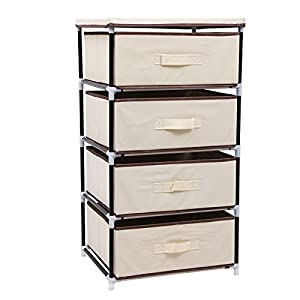 SONGMICS Aufbewahrung Kommode Garderoben mit 4 Schubladen Schubladenschrank Stoffschrank Campingschrank 45 x 84,5 x 38 cm (B x H x T) Beige RLG14M