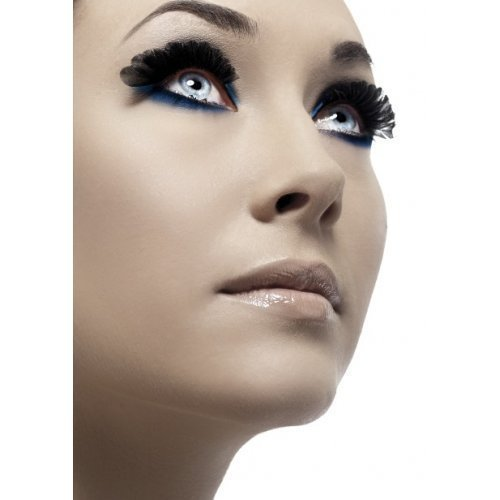 Mesdames Black Feather faux-cils Style Burlesque glisser Queen maquillage pour Halloween