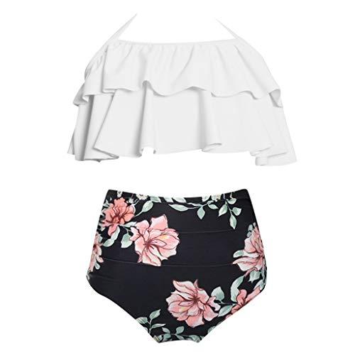 Storerine Eltern Kind Badeanzug,Mutter Tochter Bademode abnehmbare Rüsche Neckholder hohe Taille Badeanzug Outfit Bikini Set 2 Stück (Outfits Jordan Baby-air)