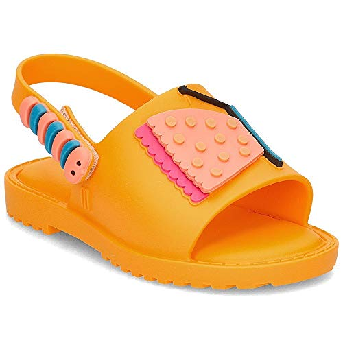 Mini Melissa - Gelbe Sandale Mia + Fabula, Made in Brazil, mit Einem Muster mit Einem Schmetterling und Einer Raupe, Mädchen-21
