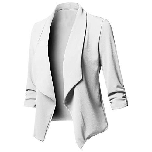 LOPILY Basic Boleros Große Größen Damen Dünne Umhangjacke Rüschen Blazer Elegante Herbstjacke Damen Übergangsjacke Cardigan 48 Weiches Pullover Damen Casual Lässgies Outwear Sweatshirts (Weiß, 40) -