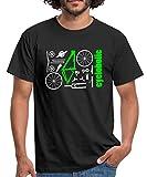 Spreadshirt MTB Teile Cycloholic Mountainbike Komponenten Männer T-Shirt, XXL, Schwarz
