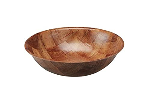 Paramount Housewares - SET OF 3 Woven Wood Bowls Round Shape for Salads or Snacks (8