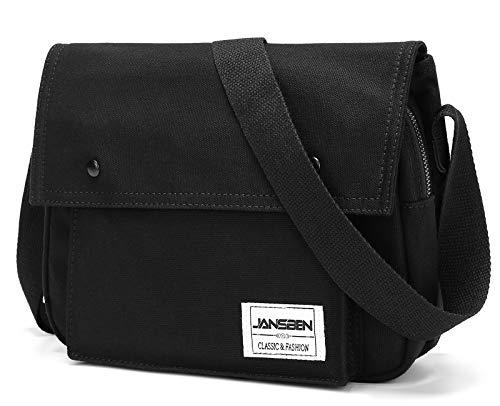 Fach Messenger Bag (JANSBEN Umhängetaschen Herren Damen Canvas Schultertasche Tasche Schule Casual Messenger Bag Uni Crossbody Bag für Arbeit Studenten (Schwarz))