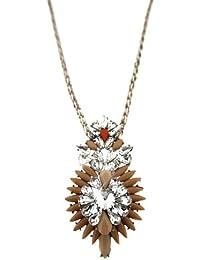 Sweet Deluxe Damen Halskette Metall rhodiniert Glas 45 cm silber/gelb 3046