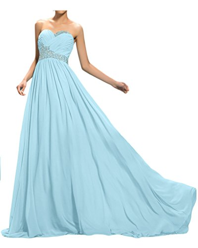 Sunvary cristalli una linea Sweetheart Chiffon criscross Evening Gowns Light Sky Blue
