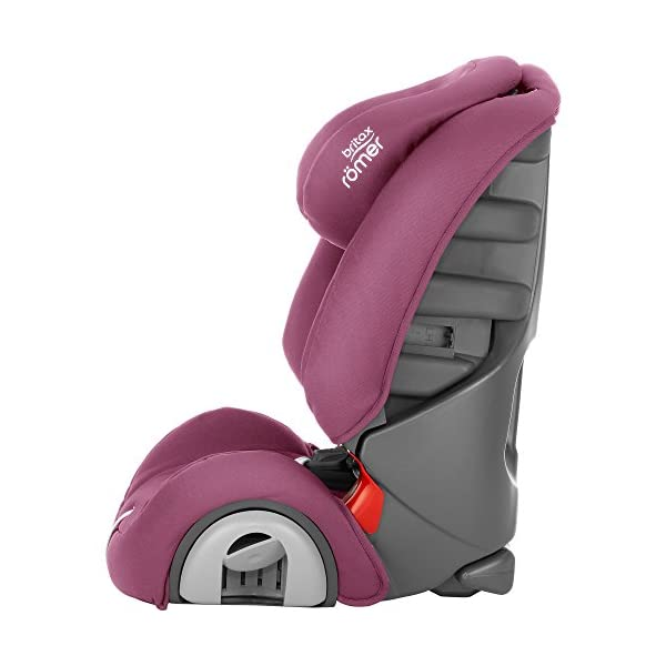 Britax Römer EVOLVA 1-2-3 Group 1-2-3 (9-36kg) Car Seat - Wine Rose  The EVOLVA 1-2-3 grows with your child as it can be used for children from 9 kg to 36 kg. This makes it the only car seat you'll need after an infant carrier Highback booster protection - As your little one grows, you can easily switch from the integral harness (up to 18 kg) to using the car's 3-point seat belt (up to 36 kg) to secure the child in the seat.  The upper and lower belt guides will provide correct positioning of the seat belt Recline position for all ages - the recline position provides a comfortable sleeping position for your child. simply adjust the seat before fitting it in your car 2