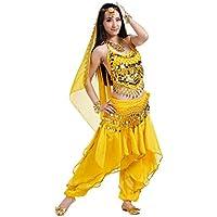 BELLYQUEEN Traje para Danza del Vientre Mujer 5 Piezas Disfraz Baile Oriental Top Pantalones - Amarillo