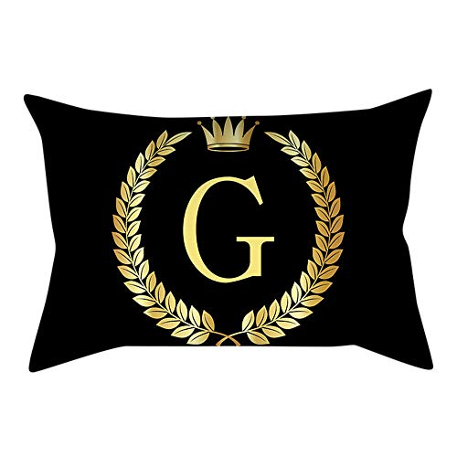 LOLIANNI Wohnkultur Kissenbezug Schwarzgold Brief gedruckt Sofakissenbezug 30 cm x 50 cm Cafe Kissenbezug (Pfirsich-rosa-abschlussball-kleid)