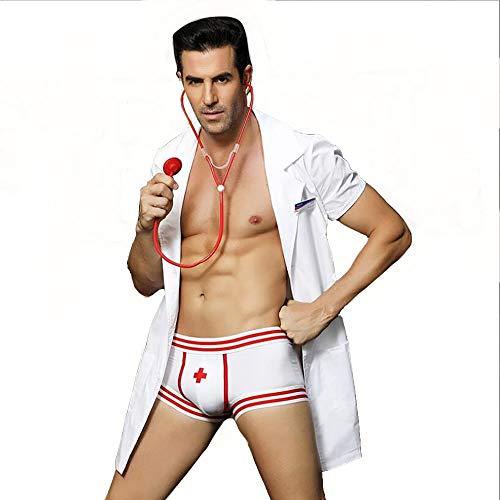 HJG Mens Sexy Krankenschwester Kostüm, Rollenspiel Kostüm Outfit von Arzt Uniform, Maskerade, Halloween Uniform