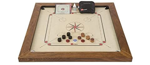 Championship Carrom Set - Top Quality Carrom Board with rosewood edges. 12mm thick polished birch plywood playing surface. Weight 24kg - Total size 35