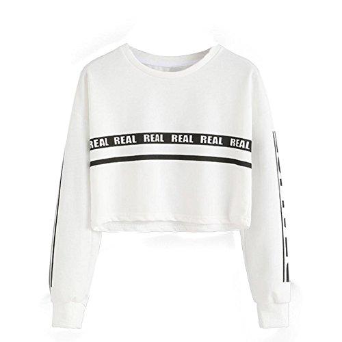 Tongshi Las mujeres forman Carta Blanca Imprimir Recortar la camiseta de la blusa superior (M)