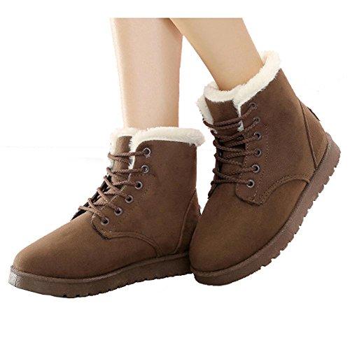 Donne Caviglia Corto Balestruccio Stivali Pelle Scamosciato Felpa Piatto Tacco Inverno Caldo Casuale Laccio La Neve Cotone Scarpe brown