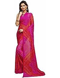 Miraan Women's Chiffon Saree With Blouse Piece (Ru2306Pink_Pink)