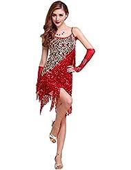CoastaCloud-Señoras Volante Salsa Tango Flamenco Baile Latino Elegante Vestido Rojo sin guantes M