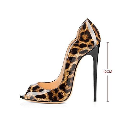 ELASHE - Damenschuhe High Heels Pumps Peep toes Stiletto Absatz Lackleder Leopard EU40