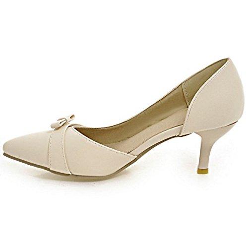 COOLCEPT Femme Elegant Bout Ferme Pointue Petit Talon Escarpins Bas A Enfiler Chaussures DOrsay Avec Bow Beige