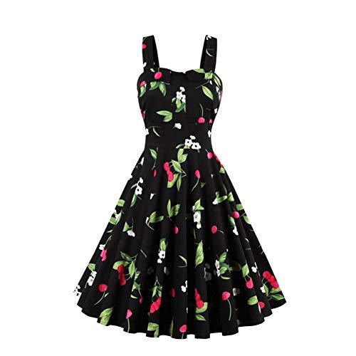 JJHR Kleider Plus Size Kirschdruck Pin Up Sommerkleid Frauen 50Er Jahre Rockbility Robe Sleeveless A-Linie Partykleider Rot