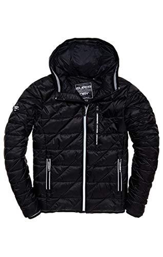 Superdry Herren Diagonal Quilt Fuji Mantel, Schwarz (Black 02a), XX-Large (Herstellergröße: 2XL) -