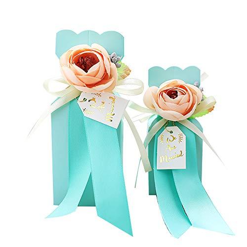 (DOUZHE Halloween-Süßigkeits-Taschen-Partei-Taschen Geschenktasche Kraft-Tasche mit künstlicher Blume für Geburtstags-Teeparty-Hochzeits-und Party-Feiern 10 Sätze Blau)