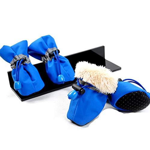 Hund Schuhe 4 Teile/Satz LargeCotton Winter Komfortable Plüsch Wasserdicht Weich/Reflektierende Acht Farbe Hund Stiefel (Beute Rakete)