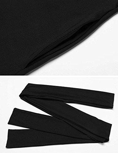 Meaneor Robe Femme Drapée Manche longue Col Rond Unie Plissée Robe De Soirée Noir
