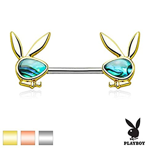 Abalone Inlaid Face Playboy Bunny Ends Stainless Steel Nipple Ring Barbell (R...