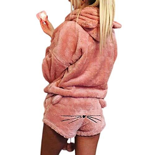2 unids Mujeres Gato Pijamas Cute Girls Meow Sleepwear Suave Albornoz Shorts Winter Lounge Sleepwear...
