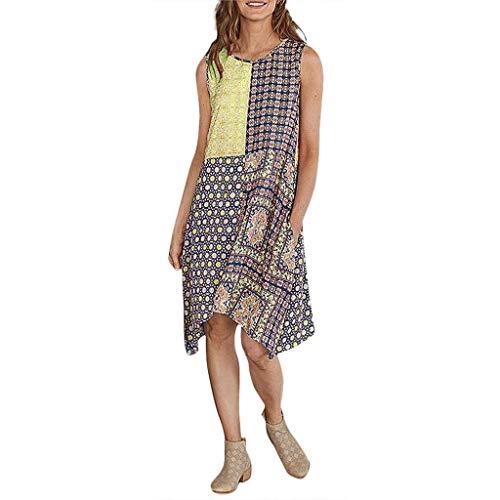 Sandy Kleid Kostüm Gelb - Go First Frauen Kleid-Sommer Dame Casual Daily Fashion Oansatz Druck Weste Sleeveless Vintage Sandy Beach Dress (Color : Gelb, Size : M)